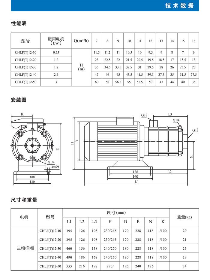 CHLF(T)不锈钢卧式多级离心泵  CHLF(T)12系列技术数据表 (https://www.yilopump.cn/) 不锈钢卧式多级离心泵 第3张